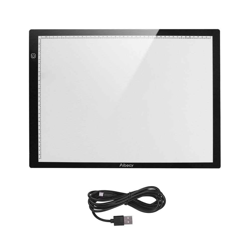 Aibecy tablette graphique dessin tablette magnétique A3 LED traçage boîte à lumière Ultra-mince en continu Dimmable luminosité Artcraft lumière