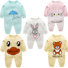 Baby Cotton Clothes Newborn Autumn Unisex Rompers 0 To 3 Months 3-15M Infant Rabbit Bear Cartoon Long Sleeve