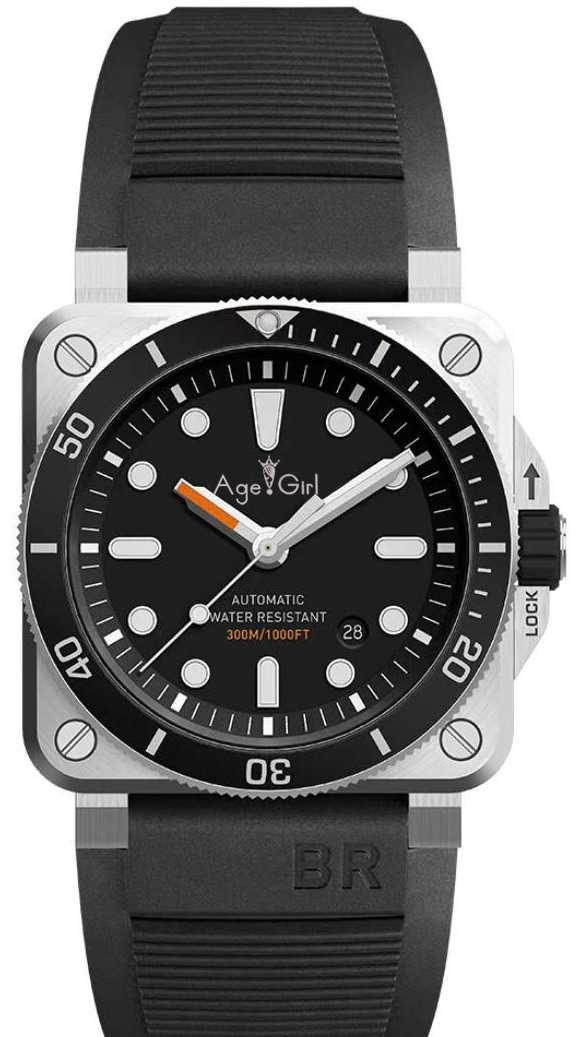 Watch Bell Ceramic Bezel Rubber Mechanical Aviation Sport Automatic Brand-New Black Waterproof title=