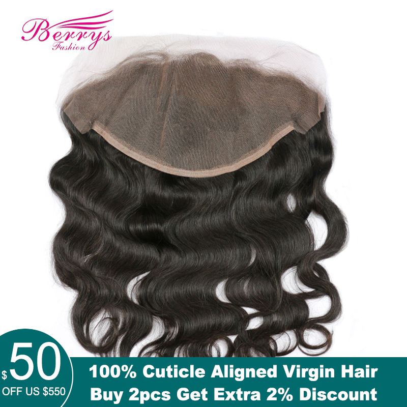 Berrys Fashion 13x6 Lace Frontal Human Hair Body Wave Brazilian Virgin Hair Free Part Lace Pre-Pluncked With Baby Hair 10-20