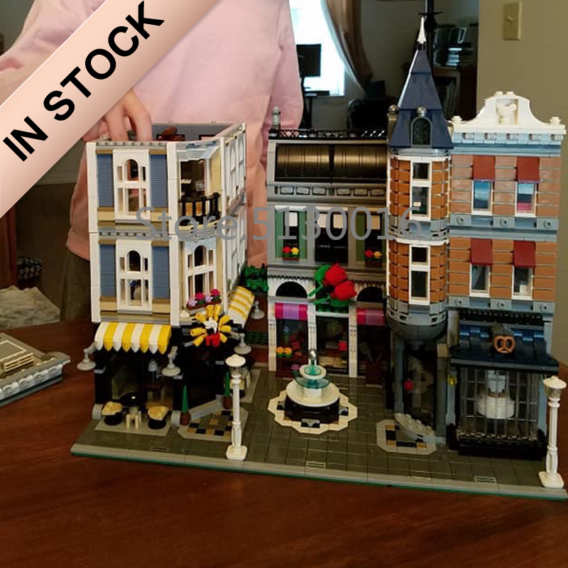 10255 Creator Assembly Square Romantic Restaurant 15019 4122Pcs Street View Model Building Blocks Bricks Education Toys