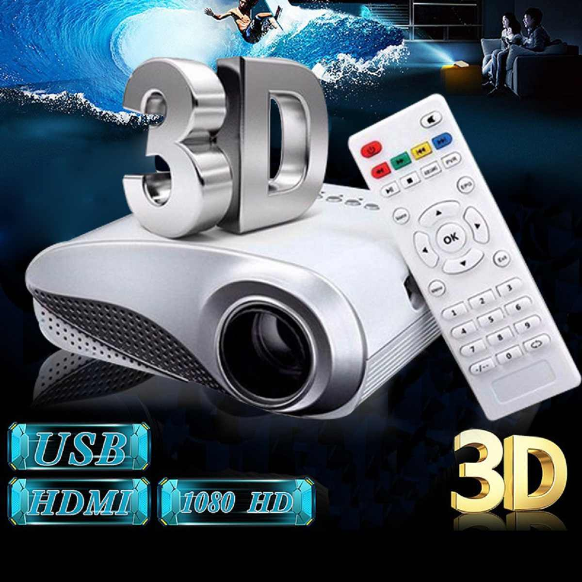 Baru Bening Mini Portabel 1080P 3D HD LED Proyektor Multimedia Home Theater USB Vga HDMI TV Sistem Home Theater