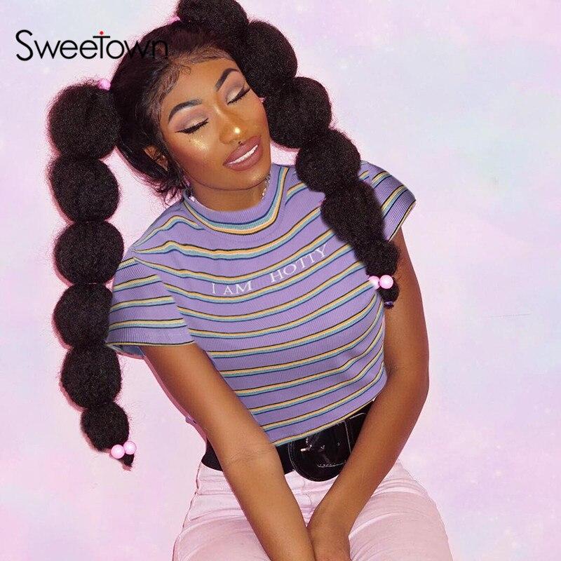Sweetown Casual Striped Streetwear T Shirt Women Short Sleeve Turtleneck Tee Shirt Letter Print Cute Tshirt Harajuku Kawaii