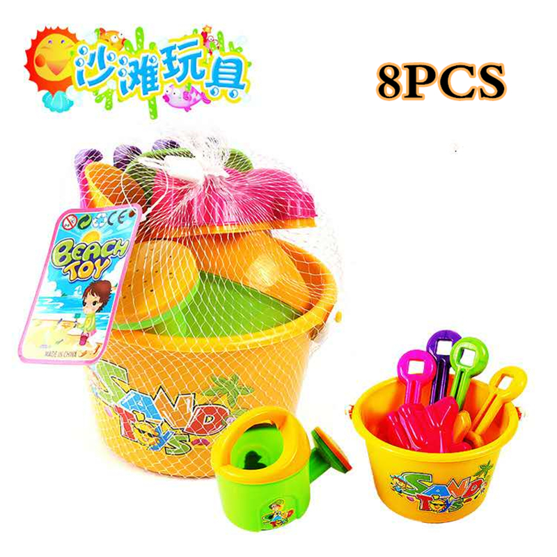 8PCS Portable Kids Classic Beach Sand Toys Watering Can,Barrel,Shovel,Frog Model,Beach Play Sand,Water Toys & Snow Play