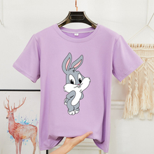 2020 Summer Print Cartoon Rabbit Cute Shirt Women O-neck Short Sleeve 8 Colors White Black Kawaii Shirts Women Oversized T-shirt