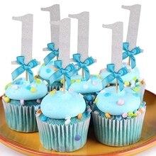 12pçs papel 1 cupcake toppers, decorações da minha festa de primeiro aniversário crianças um ano de bebê menino e menina unicórnio fornece