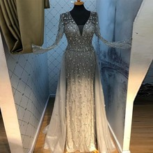 New Arrival Silver Evening Dresses Elegant V Neck Long Sleeve Tulle Crystal Beads Formal Dress Party Women Evening Gown Mermaid