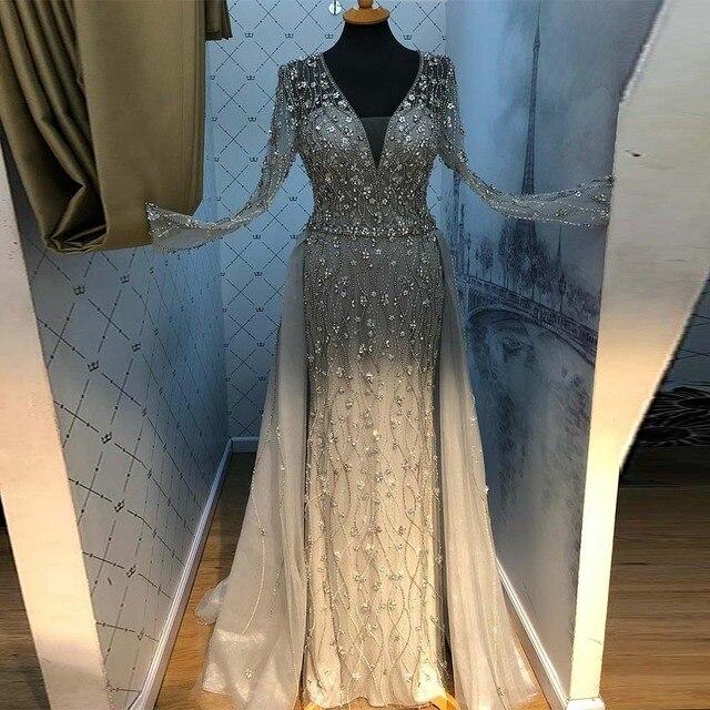 Yeni varış gümüş abiye zarif V boyun uzun kollu tül kristal boncuklar resmi elbise parti kadın gece elbisesi Mermaid