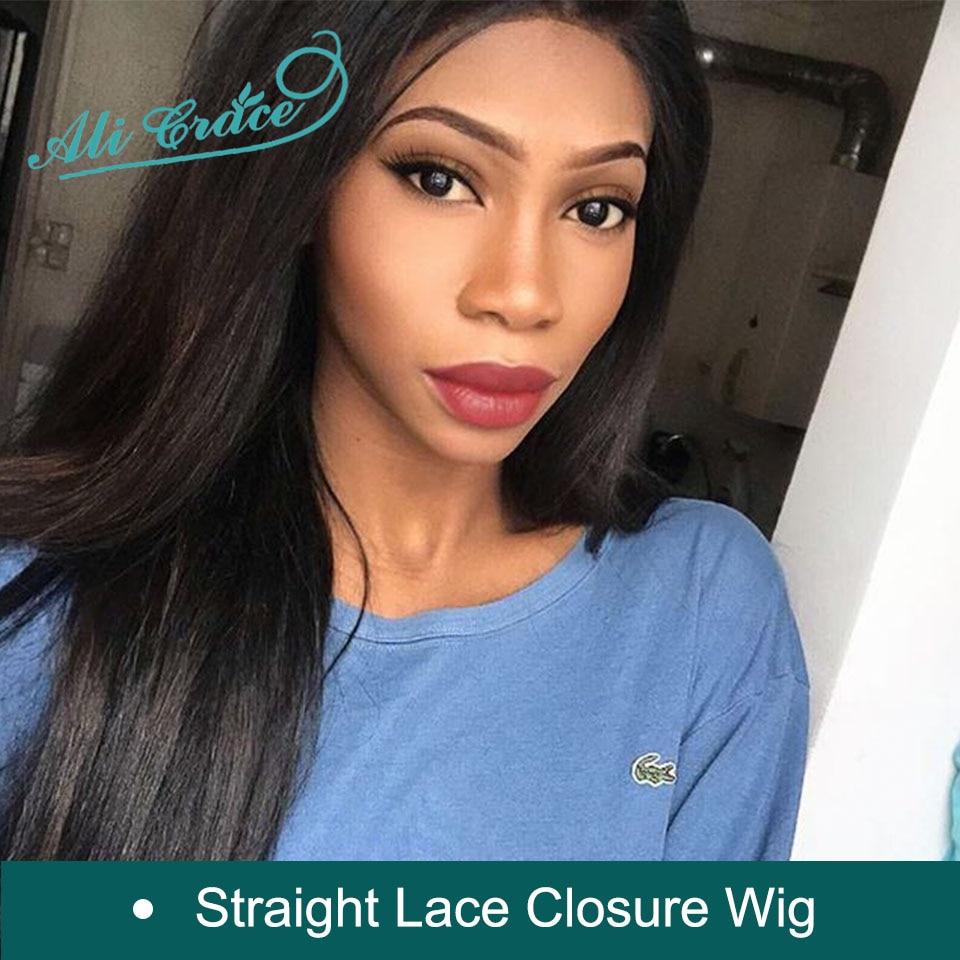 Closure Wigs Hair Lace Ali-Grace Pre-Plucked Straight 100%Human-Hair Women Brazilian