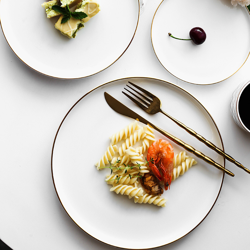Brief Noridc Round Ceramic Plate Solid Gold Edge Porcelain Glaze Dinner Western Steak Cake Dessert Tray Snack Dishes