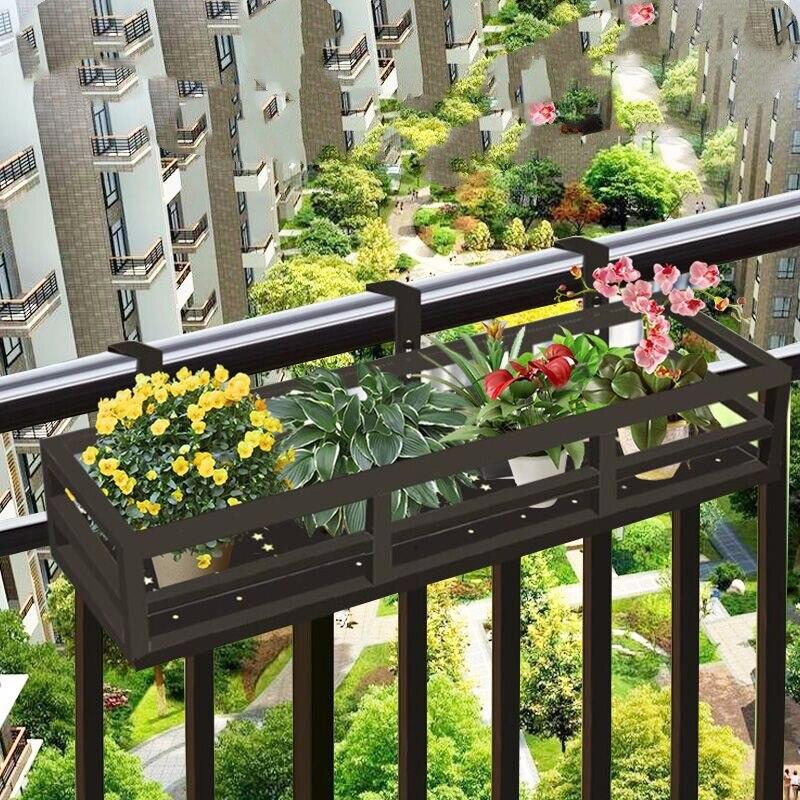 Balcony Flower Rack Railing Hanging Type Flowerpot Frame Suspension Green Radish Meat Flower Airs Windowsill Shelf Indoor