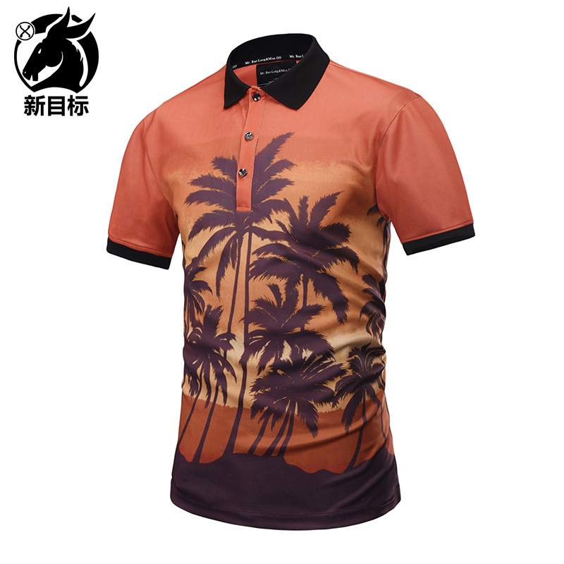 Foreign Trade Hot Selling 2019 Summer New Style 3D Creative Ye Lin Scenery Printed   Polo   Shirt Fashion Brand MEN'S Clothing   POLO