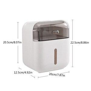 Image 5 - Organisateur de boîte de rangement pour salle de bain, plateau mural à support porte papier hygiénique pour papier toilette, boîte à mouchoirs étanche