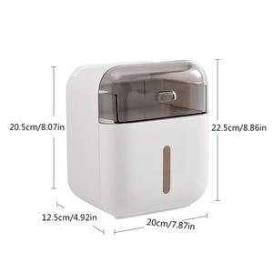 Image 5 - Soporte para papel higiénico, bandeja de papel higiénico de montaje en pared, caja de pañuelos impermeable, Rollo de tubo de papel, caja de almacenamiento para baño, Organizador