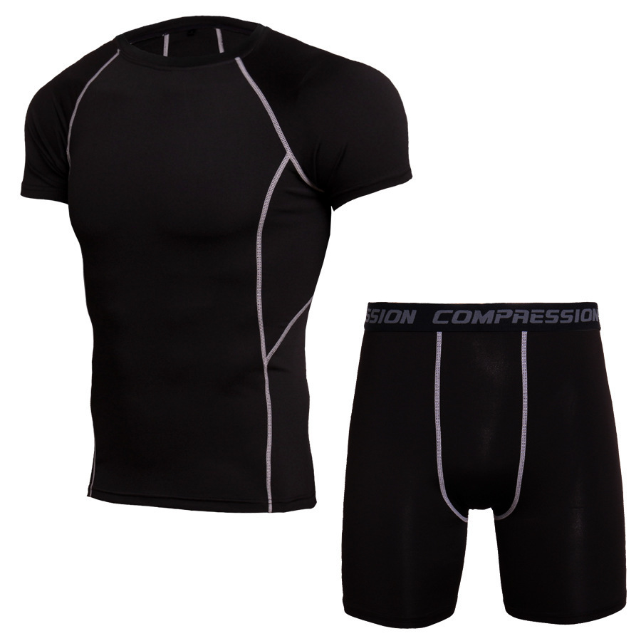 Summer Sport Suit Men Sportswear Sleeve Sleeve Tshirt Sport Fitness Suit Dry Fit Compression Running Shirt Gym Running Shorts 5