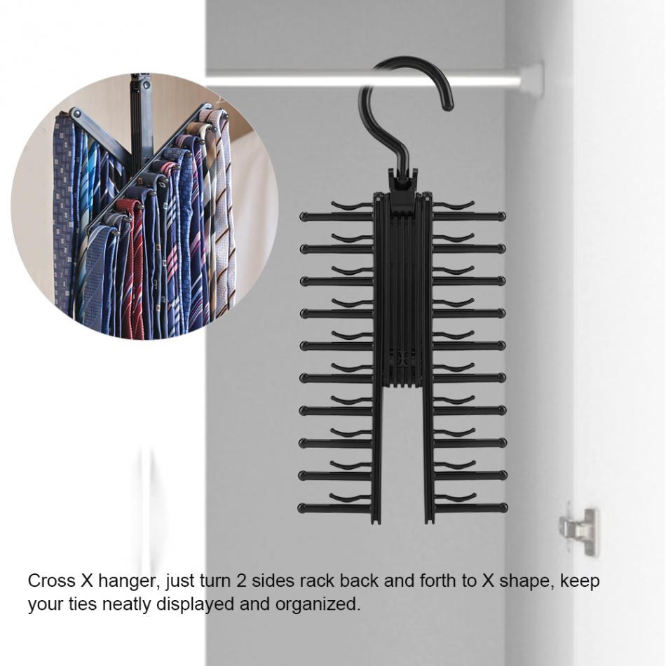 Rotating Adjustable 360 Degree Rotating Tie Rack Belt Scarf Neckties Hanger Holder Multifunctional Closet Organizer