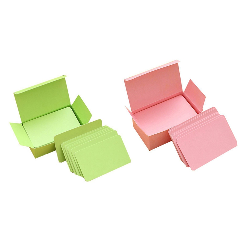 200 Pcs Memory Cards Blank DIY Graffiti Word Cards Net Small Memo Pad Blocks Memorandum Note Blank Word Cards, 100 Pcs Green & 1