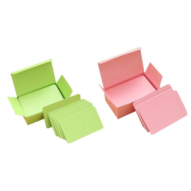 200 Pcs Memory Cards Blank DIY Graffiti Word Cards Net Small Memo Pad Blocks Memorandum Note Blank Word Cards, 100 Pcs Green & 1