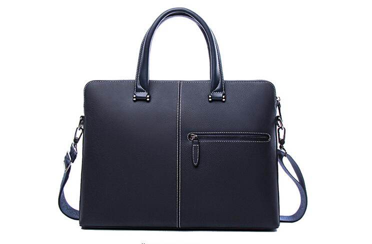 Genuine Leather Men Casual Large Capacity Business Office Briefcase Bag