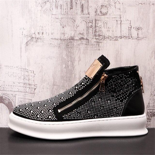 Zapatillas de deporte con cremallera para Hombre, zapatos planos informales Punk con diamantes de imitación brillantes plateados 2