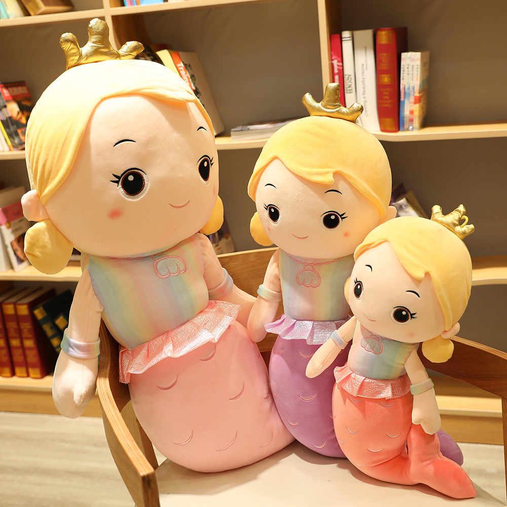 Cute Crown Mermaid Stuffed Plush Doll Rainbow Soft Toys Kids Xmas Gift Teddy