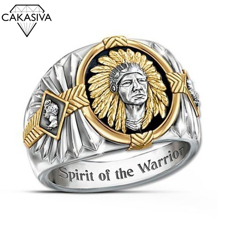 Hip-hop Style Viking Warrior Ring Indian Spirit Totem Silver 925 Ring For Men