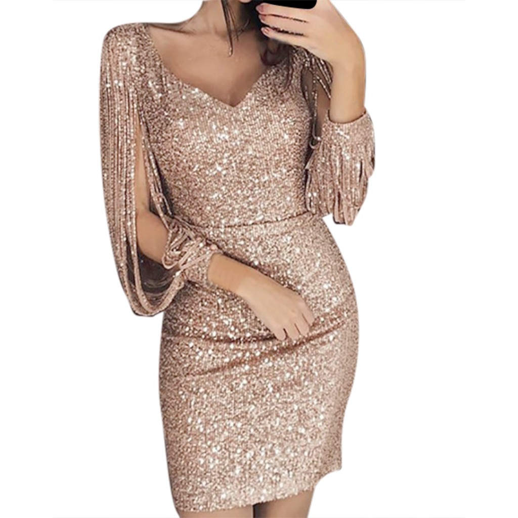 Women Sexy Solid Sequined Vestidos Stitching Shining Club Sheath Long Sleeved Mini Dress V-neck sexy nightclub Dresses Sukienki
