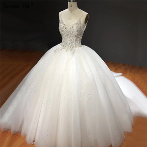 Image 2 - Белое блестящее свадебное платье без рукавов с накидкой, высококачественные Соблазнительные Свадебные платья со стразами и бисером, HA2272, изготовление на заказ