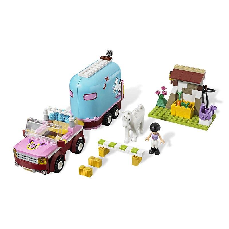 217pcs Compatible Legoinglys Horse Farm Girls Friends Emma's Trailer Building Brick Blocks Sets Toys Educational DIY Blocks