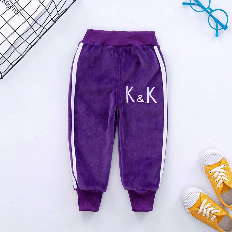 VFOCHI Boy Girls Pencil Pants Autumn Velvet Pants Stretch Waist Kids Pants Warm Children Trousers Baby Girls Boy Sports Pants 2