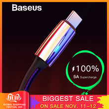 Baseus 5A USB Type C Cable for Huawei Mate 30 Pro P30 Supercharge USB C Quick Charge 3.0 Fast Charging Cable LED Type USB-C Wire(China)