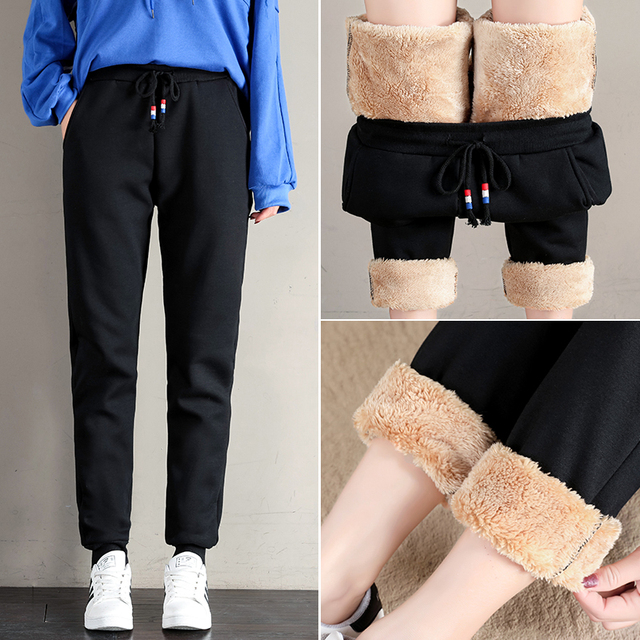 Women Winter Thick Lambskin Cashmere Pants Warm Female Casual Cotton Pants Loose Harlan Long Trousers Plus Size S-5XL 3XL 4XL 2