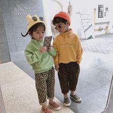 New autumn Korean style long section full leopard-print loosen big hip trousers for girls