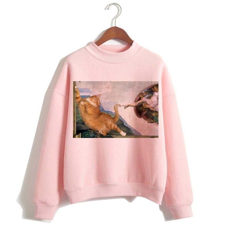 Cat Van Gogh Pink Hoodie Funny 2019 Women Cartoon Kawaii Hooded Harajuku Sweatshirt Print Female Clothing 90s Warm