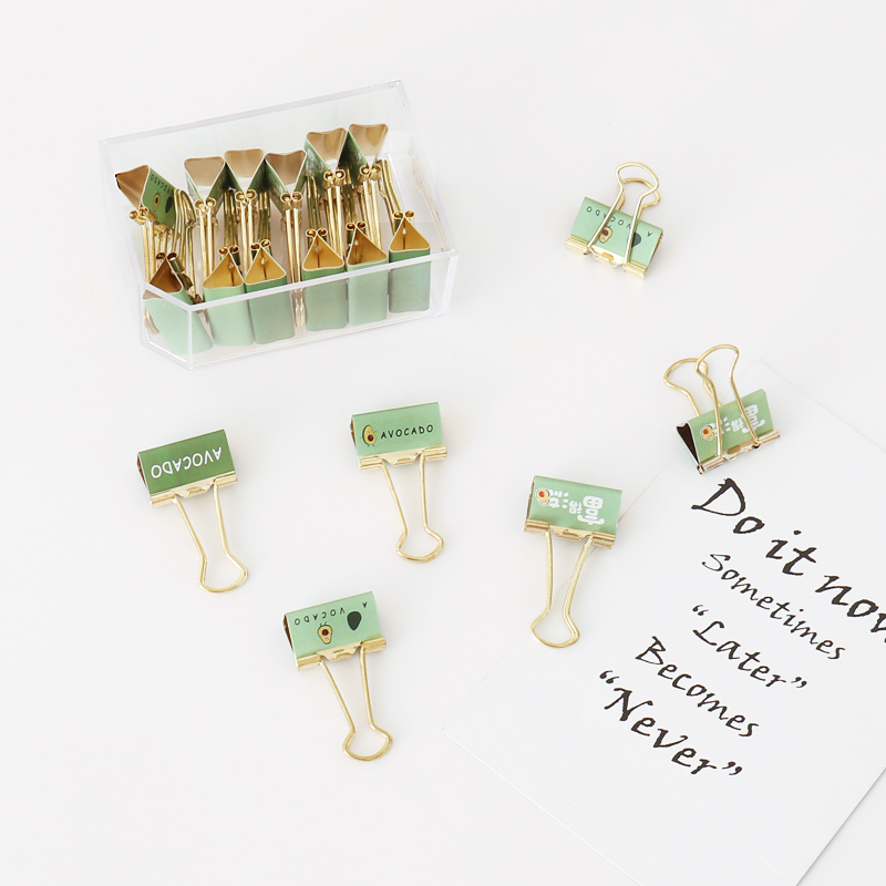 Avocado Clip 25mm Imitation Gold Office Stationery Ticket Clip Planner Clip Cute Clip Binder Paperclips Lot Paper Clips Metal