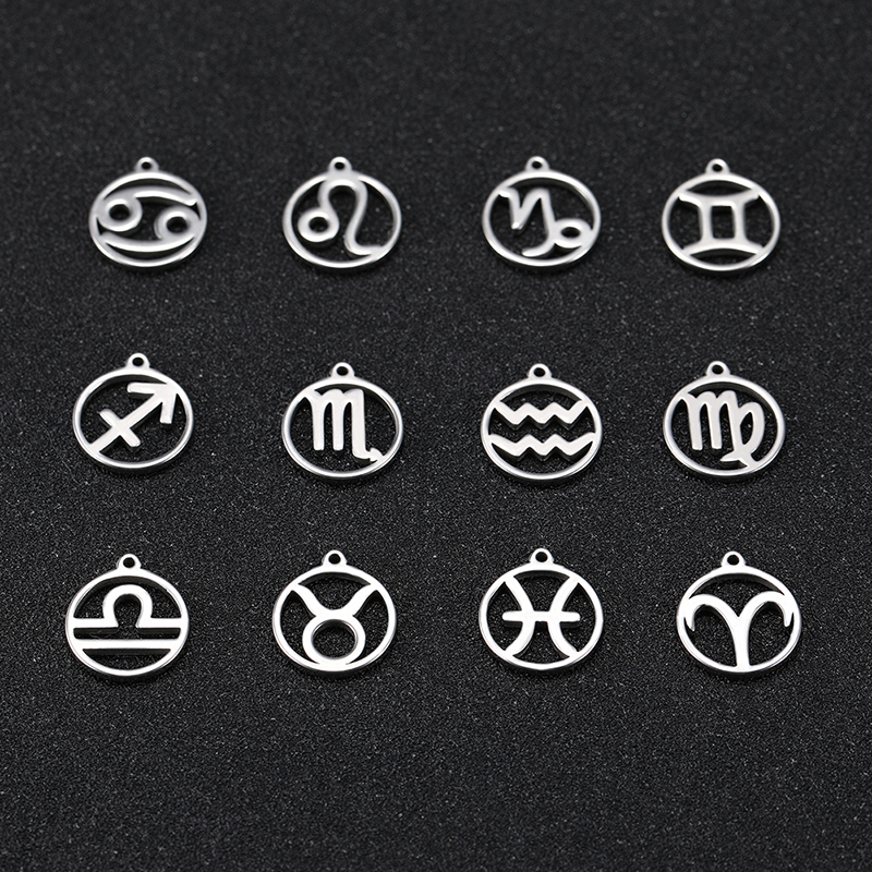 COOLTIME Zodiac Floating Charm For Jewelry Making Stainless Steel Aries Pisces Aquarius Cancer Twelve Constellation Pendant