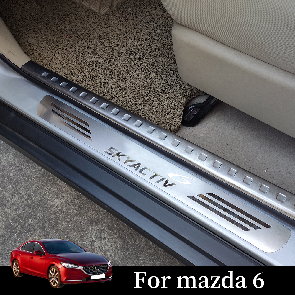 Pour Mazda 6 Atenza voiture style autocollant en acier inoxydable porte seuil bande accessoires éraflure plaque pédale 2015 2016 2017 2018 2019