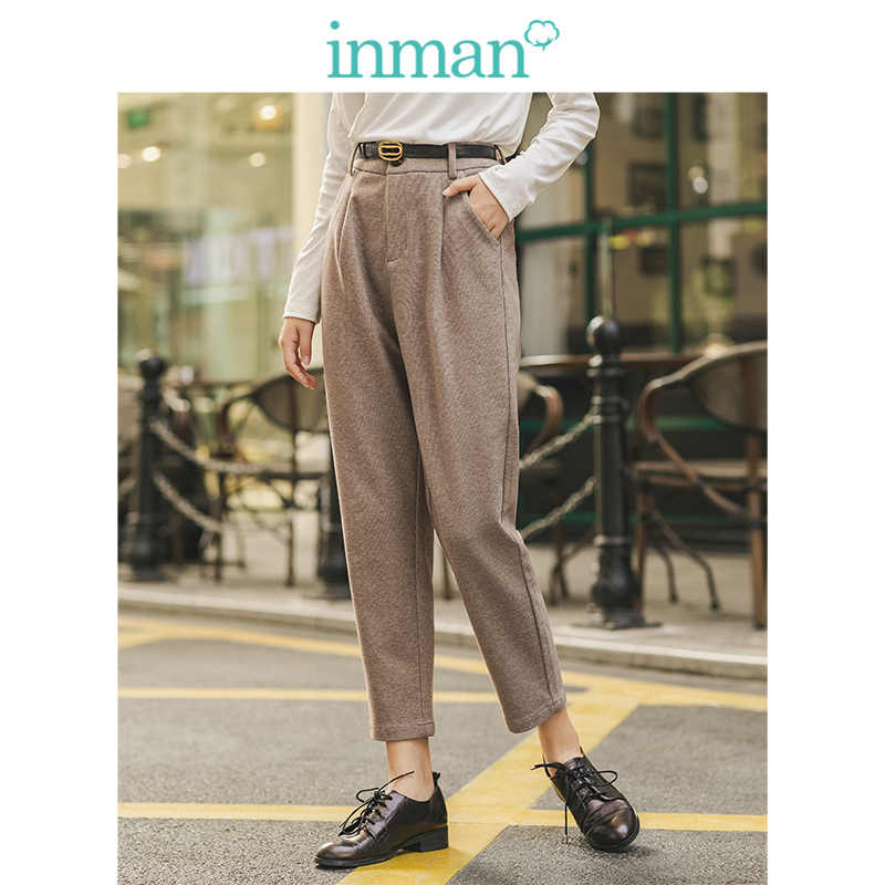 INMAN 2019 Autumn Winter Literary Classic Minimalism Loose Cotton Linen Medium Waist Women Long Pencil Pants