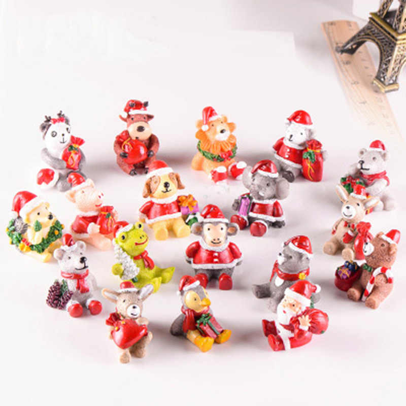 Christmas Santa Claus animals bear dog Resin Ornaments Cute Miniature Micro Landscape decoration for home Xmas kids Gift 1PC