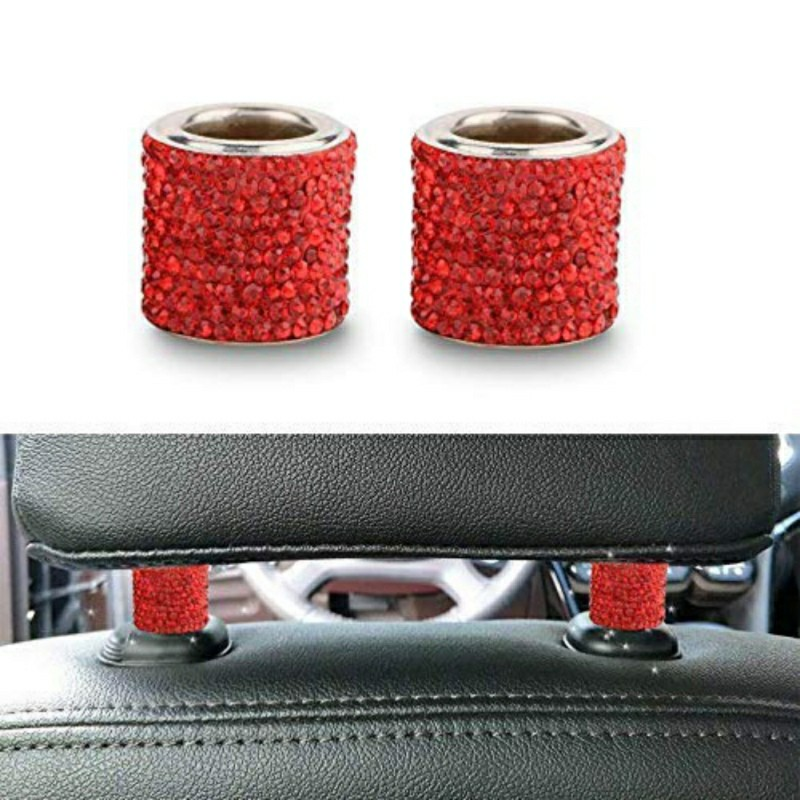 New 1PCS Seat Rod Diamond Ring Car-styling Car Ornament Crystal Car Seat Headrest Collar Decor Interior Moulding