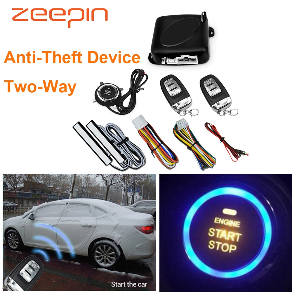 Car Anti-Theft Device Two-Way Keyless Entry Start Stop Button PKE Burlar Alarm System Engine Push Door Lock Remote Control