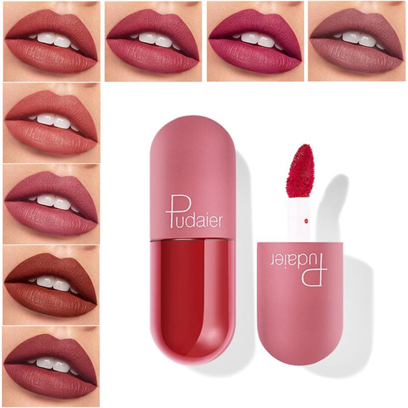 18 Colors Mini Capsule Lip Glaze Waterproof Velvet Misty Moisturizing Lipstick Lasting Non-stick Cup Smooth Matte Lip Gloss TSLM