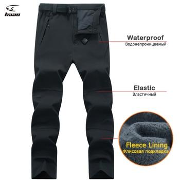 LNGXO Winter Trekking Hiking Pants Waterproof Pants Outdoor Trousers Camping Skiing Hunting Fleece Men Rain Pants Goretex Warm цена 2017