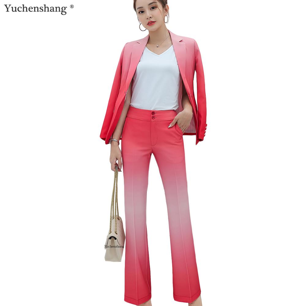 Fashion 2019 Winter Autumn Fall Women Gradient Color Pant Suit Red Blue Blazers Jackets And Pant 2 Pieces Sets