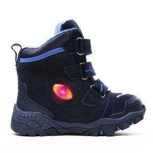 Image 4 - Dinoskulls 소년 겨울 부츠 눈 정품 가죽 T 렉스 LED 빛나는 패션 2020 어린이 2 8 따뜻한 봉 제 양 털 어린이 부츠 신발