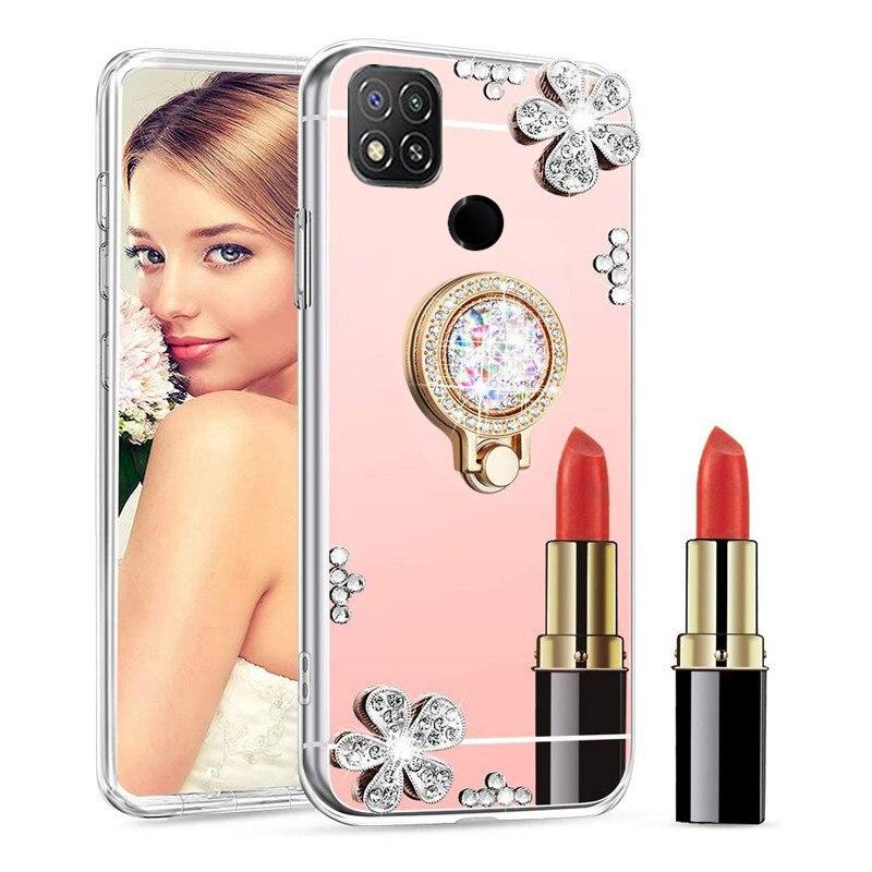 Зеркальный чехол для девочек Redmi 9C 9 9A 8 8A 7A 6 6A 5A 4X 4A S2 GO 5 Plus 6 Pro Redmi 9S 9 8T 7 6 5 5A Pro 4X, блестящий чехол с кольцом-держателем