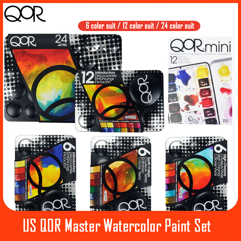 US QOR Artistic Watercolor Paints Set Tin box Pigment Solid Paint Set Palette High Concentration for Artist Painting Drawing