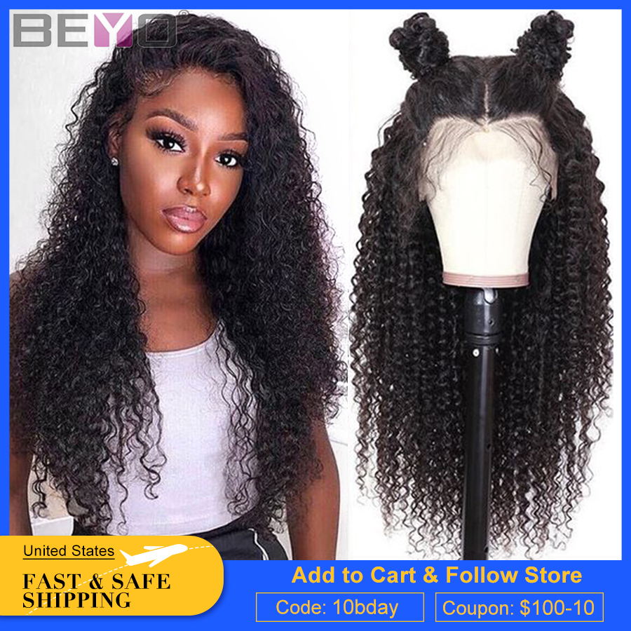 360 Lace Frontal Wig Pre Plucked With Baby Hair Brazilian Kinky Curly Wig Glueless Lace Front Human Hair Wigs Beyo Remy Lace Wig