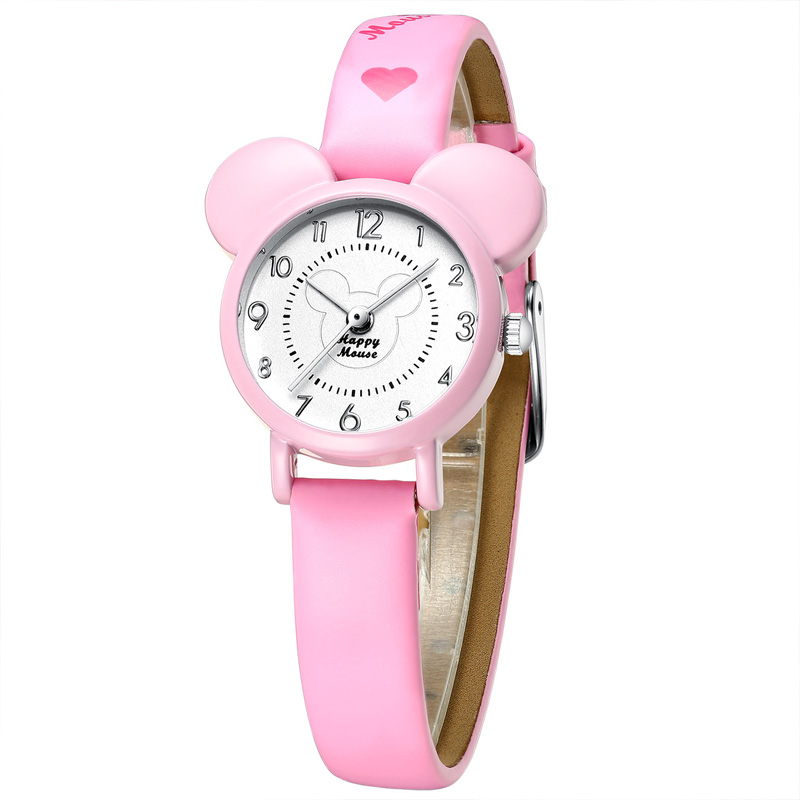 KDM Cute Cartoon Leather Quartz Watch Children Girl Boy Fashion Bracelet Wrist Watch Best Gift With Birthday Christmas Clock 010