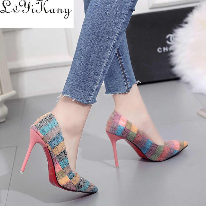 2019 נשים משאבות מסיבת חתונה נעלי סופר גבוה העקב הבוהן מחודדת Zapatos Mujer Chaussure Femme טאלון מותג גבירותיי נעלי 2019